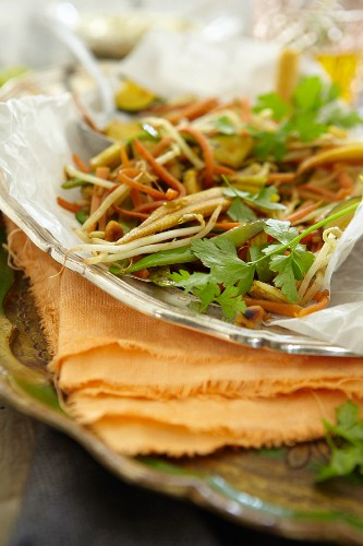 Vegetable raclette with edible shoots and coriander