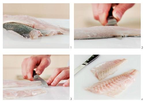 Fischfilet (hier Wolfsbarschfilet) enthäuten
