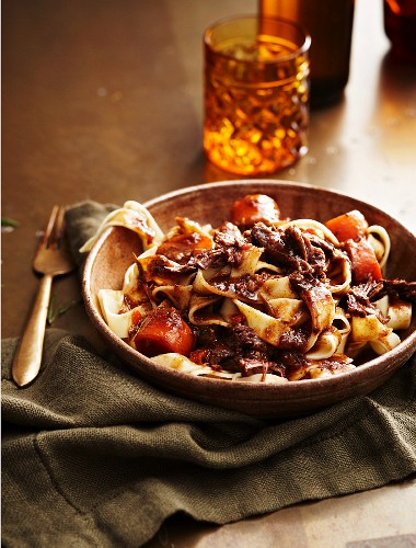 Tagliatelle with ox tail and Guinness ragout