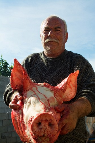Local Butcher with Pigs Head