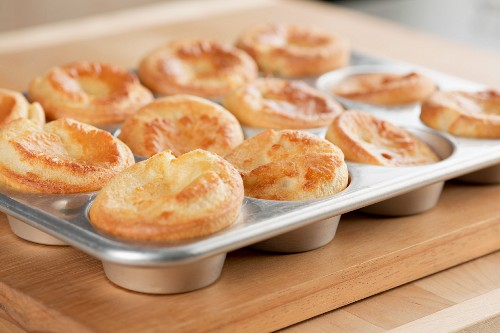Yorkshire puddings in a muffin tin