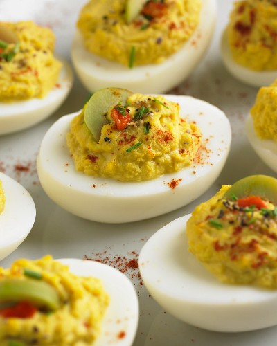 Deviled Eggs with Green Olive Garnish
