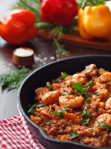 Jambalaya with Shrimp in a Cast Iron Skillet