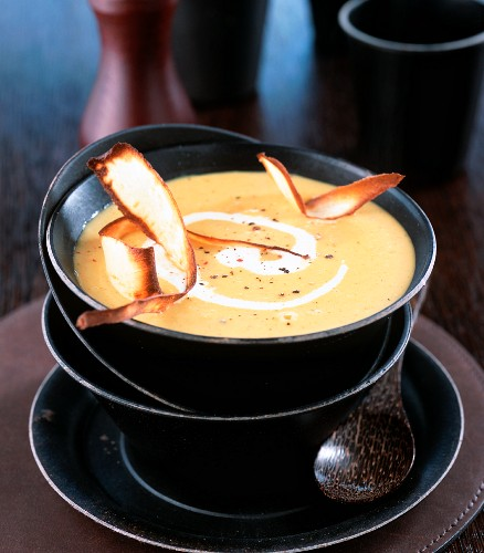 Parsnip soup with parsnip crisps