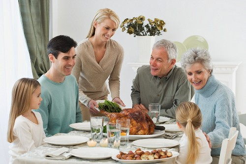 Family eating at Thanksgiving table