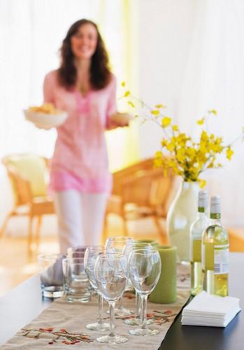 Woman preparing home party