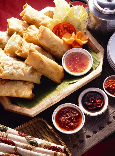 Spring Rolls on a Platter with Sauce