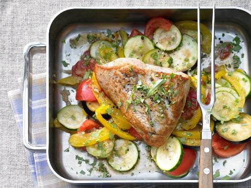 Braised turkey with ratatouille vegetables
