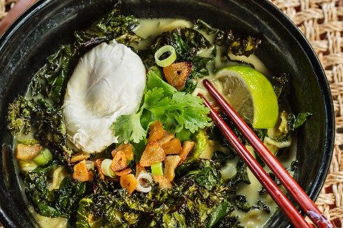 Japanese tonkotsu ramen soup with crunchy vegetables