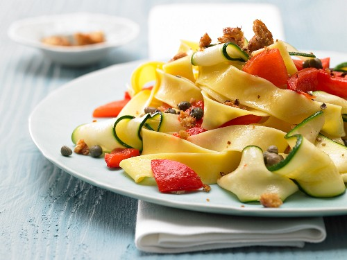 Red pepper and courgette pasta with chilli crumbs