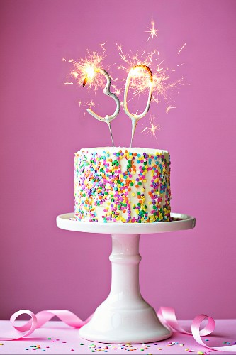 Magnificent 30Th Birthday Cake With Sparklers License Images 12083517 Personalised Birthday Cards Vishlily Jamesorg