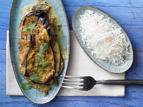 Aubergine and coconut curry with basmati rice