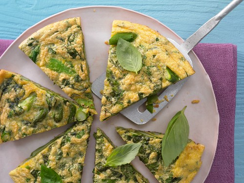 An asparagus omelette with basil and Parmesan