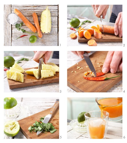 How to prepare a pineapple and carrot drink with chilli and coriander
