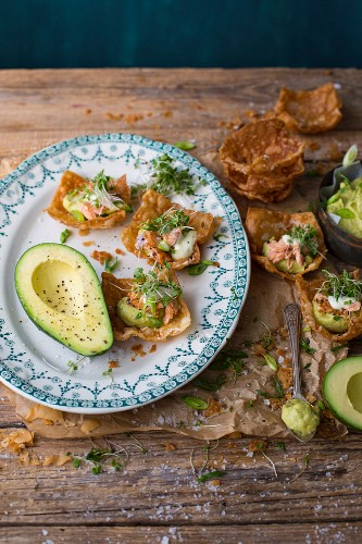 Deep fried won ton cups with avocado cream, trout and wasabi mayonnaise