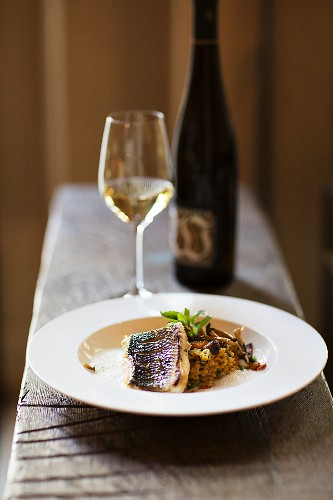 Bass with pumpking and lentil curry, a dish at the Leopold restaurant in Deidesheim (in the Palatinate region of Germany)
