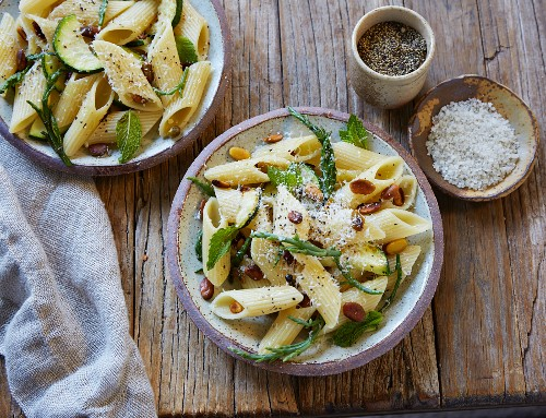 Penne with marsh samphire, pistachio nuts and mint