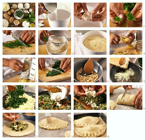 Stuffed pasta filled with leaf spinach, potatoes and feta