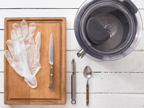Entsafter, Einmalhandschuhe, Messer, Sparschäler und Löffel