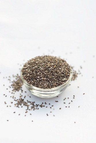 Chia seeds in a glass bowl in front of a white background