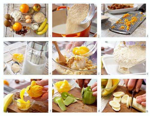 How to prepare quinoa and quark bake with fruit salad