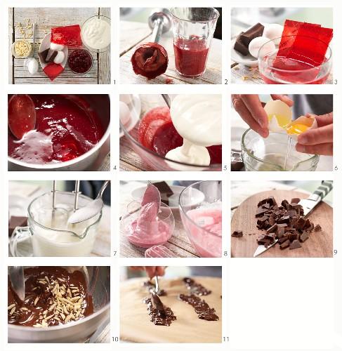 Lingonberry yoghurt espuma being made