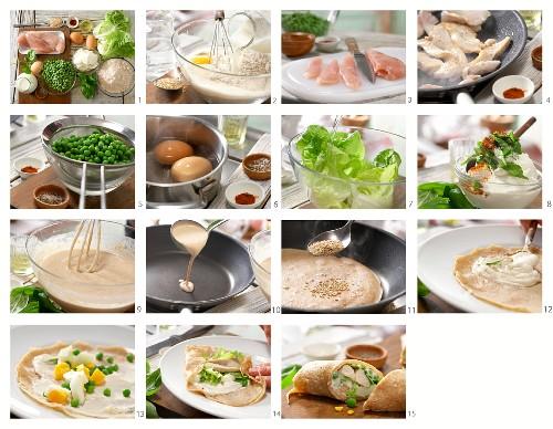 Pfannkuchenwraps mit Huhn, Erbsen, Ei, Salat und Sesam zubereiten