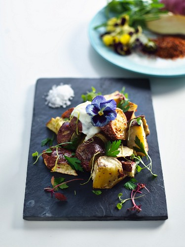 Roasted sweet potatoes with chilli and yoghurt