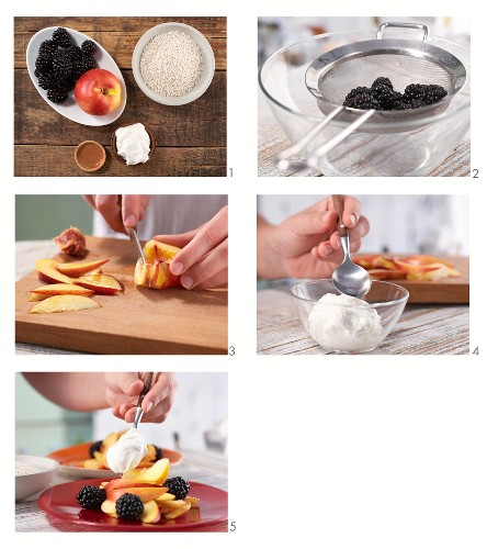 How to make a blackberry and nectarine salad with quark and amaranth pops