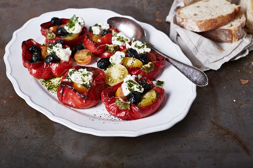 Red peppers with a Mediterranean ricotta and olive filling