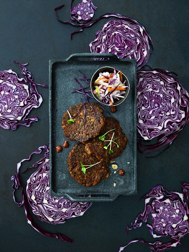 Lentil burgers with a red cabbage salad