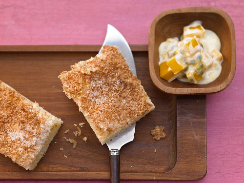 Quick coconut cake with passionfruit and mango yoghurt