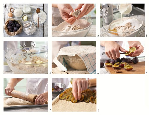 How to prepare a plum cake made with unripe spelt flour