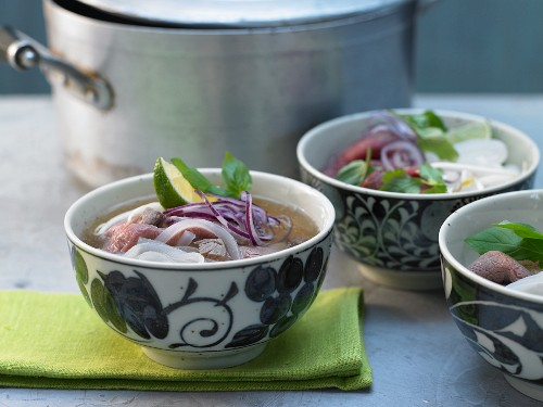 Vietnamese soup with beef and rice noodles