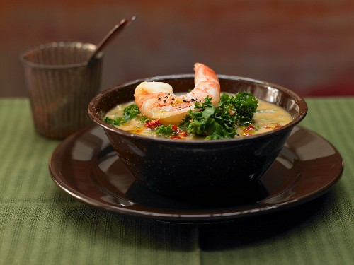 Portuguese green cabbage stew with prawns