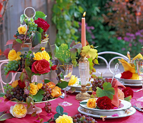 Autumn, table decoration with roses and grapes