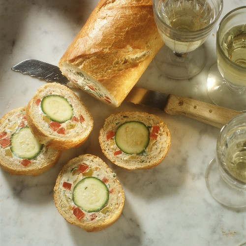 French Bread filled with Zucchini and Cheese-Bell Pepper Mousse