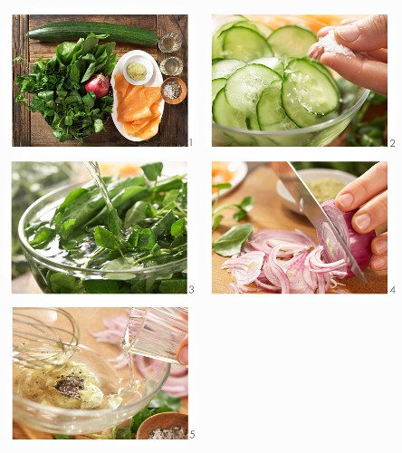 How to make a smoked salmon salad with cucumber, sorrel and watercress with a tarragon mustard