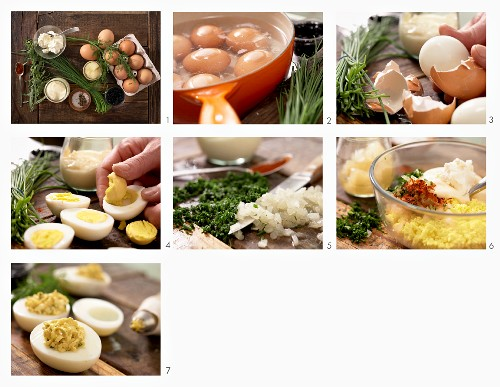How to prepare eggs with herbs and caviar (Russia)