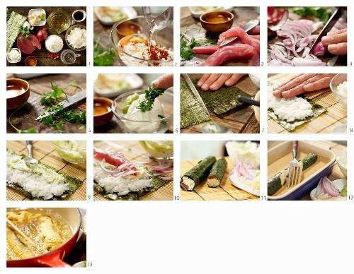 How to make maki sushi with tuna, red onion and coriander