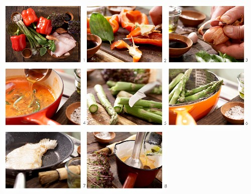 How to prepare roast beef with red peppers and steamed green asparagus