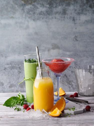 Three non-alcoholic fitness drinks