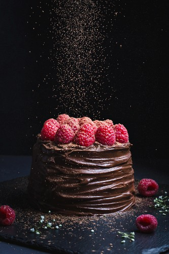 Decadent chocolate cake topped with chocolate icing and raspberries, and cocoa sprinkling in action