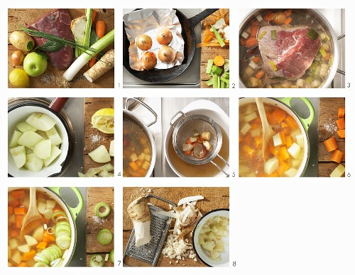 How to make boiled veal with vegetables and apple sauce
