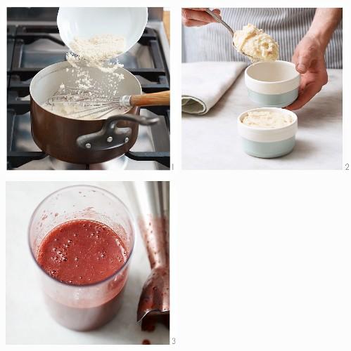 Almond semolina flummery with plum sauce being made