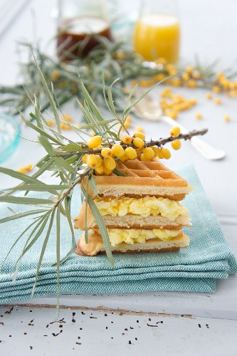 Waffles with seaberry cream