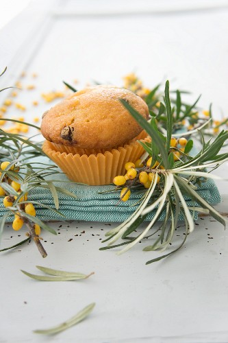 A vanilla muffin with seaberry syrup