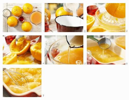 Grapefruit-Orangen-Granita mit Campari zubereiten