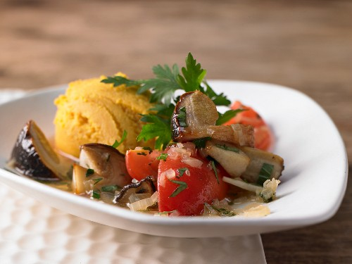 Cep mushroom ragout with a red lentil puree