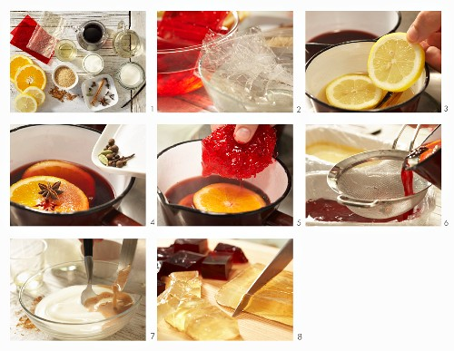 How to make mulled wine jelly with a cinnamon sauce